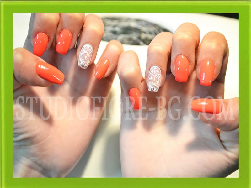 ноктопластика изграждане с гел nail art