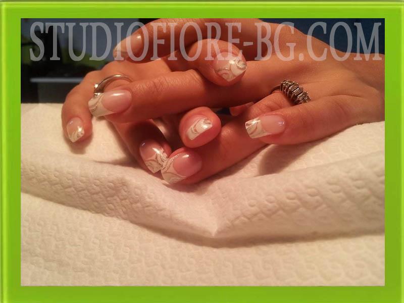 ноктопластика с гел бял френски nail art