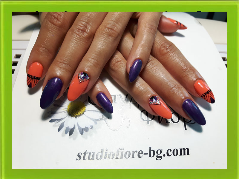маникюр с гел лак- маникюр варна- маникюр в оранжево и лилаво с черна декорция